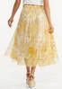 Plus Size Yellow Floral Mesh Midi Skirt alternate view