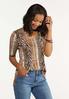 Plus Size Leopard Cutout Neck Top alt view