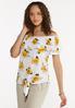 Plus Size Sunflower Tie Front Top alt view