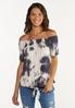 Plus Size Knotted Tie Dye Top alt view