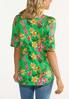 Plus Size Green Tropical Floral Top alternate view