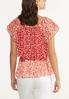 Plus Size Red Floral Ruffled Top alternate view