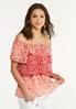 Plus Size Red Floral Ruffled Top alt view