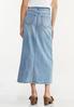 Plus Size Frayed Denim Maxi Skirt alternate view