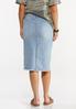 Plus Size Distressed Button Front Denim Skirt alternate view
