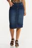 Plus Size Dark Denim Pull- On Skirt alt view
