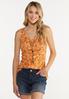 Plus Size Orange Floral Paisley Tank alt view