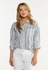 Plus Size Frayed Stripe Shirt alt view