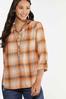 Plus Size Pumpkin Plaid Pullover Top alt view