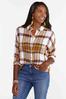 Oversized Frayed Plaid Shirt alt view