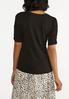 Plus Size Solid Ruched Sleeve Tee alternate view