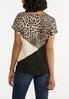 Plus Size Leopard Colorblock Tie Tee alternate view