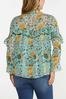 Plus Size Ruffled Teal Floral Top alternate view