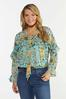 Plus Size Ruffled Teal Floral Top alt view