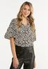 Plus Size Leopard Tiered Sleeve Top alt view