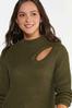 Plus Size Olive Cutout Sweater alt view