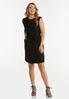Plus Size Black Padded Shoulder Dress alt view