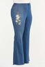 Plus Petite Floral Embroidered Flare Jeans alt view