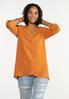 Plus Size Autumn Orange Cross Hem Tunic alt view