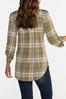Olive Plaid Scrunch Sleeve Top alternate view