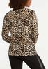Plus Size Leopard Twisted V- Neck Top alternate view