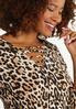 Plus Size Leopard Twisted V- Neck Top alt view