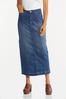 Plus Size Frayed Denim Maxi Skirt alt view