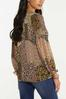 Plus Size Smocked Mixed Leopard Top alternate view