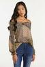 Plus Size Smocked Mixed Leopard Top alt view