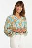 Plus Size Floral Fields Balloon Sleeve Top alt view