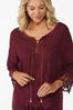Plus Size Embroidered Lace Up Top alt view