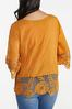 Plus Size Gold Embroidered Top alternate view