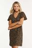 Plus Size Leopard Flutter Sleeve Dress alt view