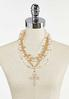 Layered Chunky Pearl Cross Necklace alternate view