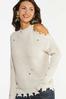 Plus Size Distressed Cold Shoulder Sweater alt view