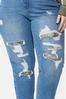 Plus Size Camo Rip Repair Boyfriend Jeans alt view