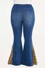 Plus Size Plaid Inset Flare Jeans alternate view