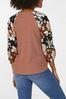 Plus Size Ribbed Mixed Floral Sleeve Top alternate view
