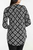 Plus Size Lace Up Checkered Tunic alternate view