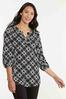 Plus Size Lace Up Checkered Tunic alt view