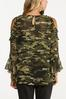 Plus Size Ruffled Camo Cold Shoulder Top alternate view