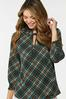 Plus Size Smocked Teal Plaid Top alt view