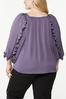 Plus Size Silky Ruffled Sleeve Top alternate view