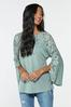 Lacy Ruched Sleeve Top alt view