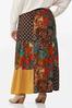 Plus Size Autumn Patchwork Maxi Skirt alternate view