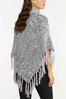 Cable Knit Fringe Poncho alternate view