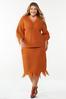 Plus Size Distressed Orange Sweater alt view